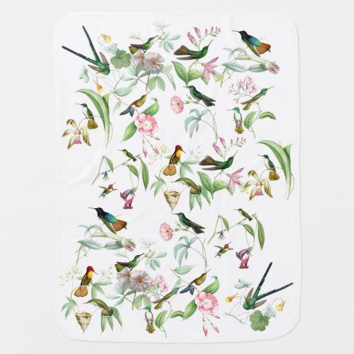 Manta del bebé de los colibríes y de las flores mantitas para bebé