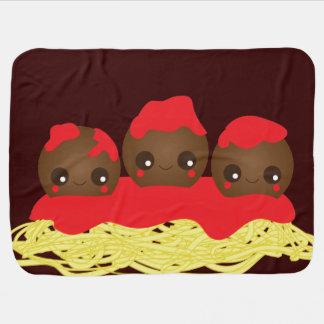 Manta del bebé de los espaguetis y de las albóndig mantita para bebé