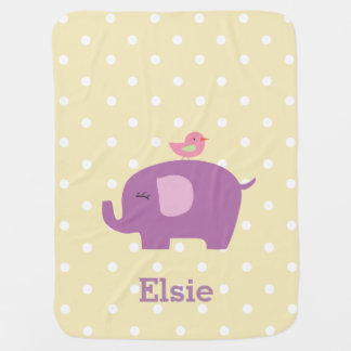 Manta del bebé del chica personalizado elefante mantita para bebé