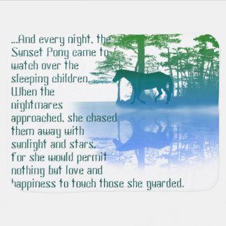 Manta del bebé del potro de la puesta del sol mantas de bebé