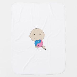 Manta del bebé un bebé con un lollipop de yang del manta de bebé