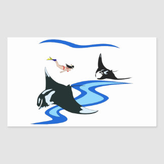 Manta Fish and Free Diver Rectangular Sticker
