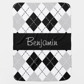Manta gris blanca negra personalizada del bebé de  mantas de bebé