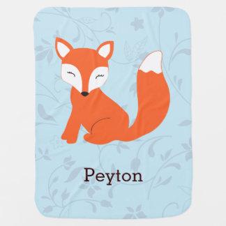 Manta linda azul del bebé del Fox del arbolado Mantitas Para Bebé