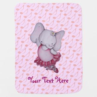 Manta linda del bebé del elefante de la bailarina mantitas para bebé