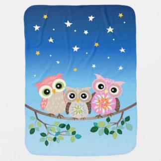 Manta linda soñolienta del bebé de 3 búhos mantitas para bebé