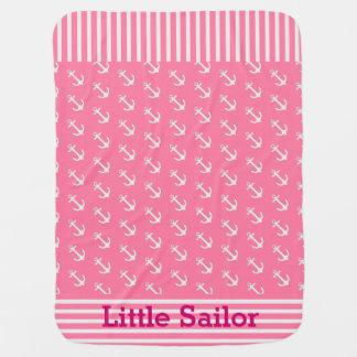 Manta náutica del bebé de las anclas de las rayas  mantita para bebé