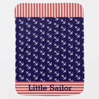 Manta náutica del bebé de las anclas de las rayas mantitas para bebé