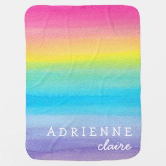 Manta personalizada arco iris del bebé de la acuar mantita para bebé