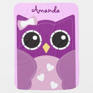 Manta personalizada búho púrpura lindo del bebé mantitas para bebé