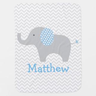 Manta personalizada Chevron azul del bebé del Mantas De Bebé