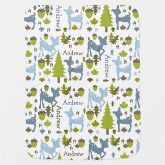 Manta personalizada ciervos azules del bebé mantas de bebé
