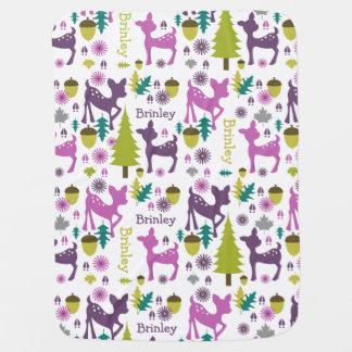 Manta personalizada ciervos púrpuras del bebé mantitas para bebé