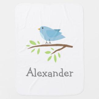 Manta personalizada del bebé con el pájaro azul mantas de bebé
