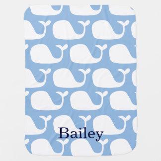 Manta personalizada del bebé de las ballenas azule mantitas para bebé