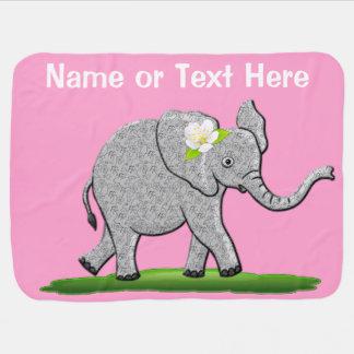 Manta personalizada del elefante rosado con su mantitas para bebé