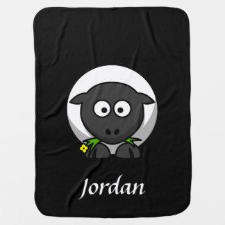 Manta personalizada negro de las ovejas manta de bebé