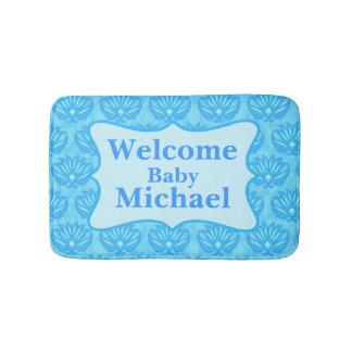 Manta personalizada nombre azul del bebé de la