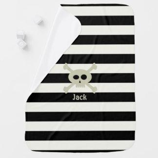 Manta personalizada raya linda del bebé del cráneo mantitas para bebé
