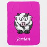 Manta personalizada rosa brillante de la vaca mantitas para bebé