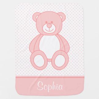 Manta personalizada rosada del bebé del oso de manta de bebé