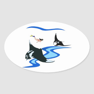 Manta Point Oval Sticker