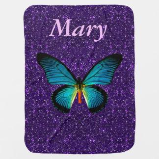 Manta púrpura del bebé del brillo de la mariposa mantita para bebé