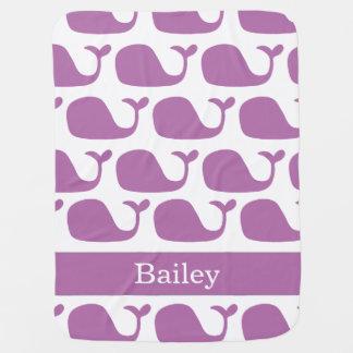 Manta púrpura náutica personalizada del bebé de la mantita para bebé