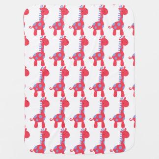 Manta púrpura y roja del bebé de la jirafa de la mantita para bebé