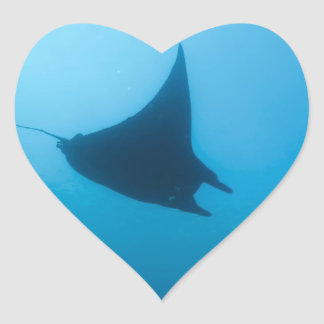 Manta ray blue ocean cleaning station heart sticker