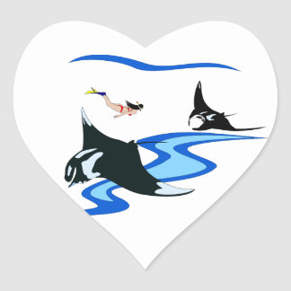 Manta Ray Cleaning Station Heart Sticker