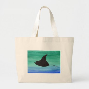 Beach Themed Manta Ray Large Tote Bag