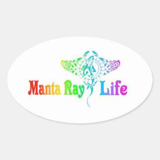 Manta Ray Life Oval Sticker