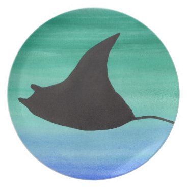 Beach Themed Manta Ray Melamine Plate