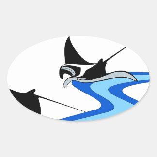 Manta Ray Oval Sticker