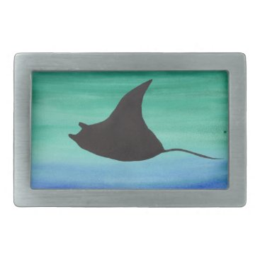Beach Themed Manta Ray Rectangular Belt Buckle