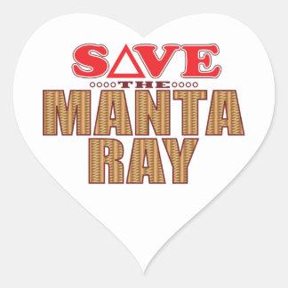 Manta Ray Save Heart Sticker
