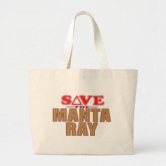 Manta Ray Save Large Tote Bag