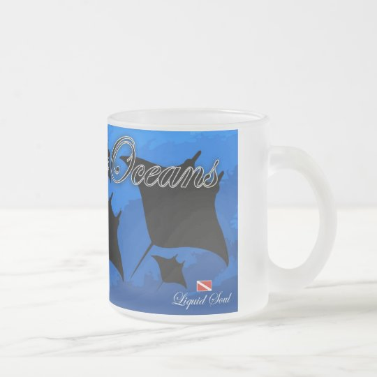 Manta Ray - Save Our Oceans Frosted Glass Coffee Mug