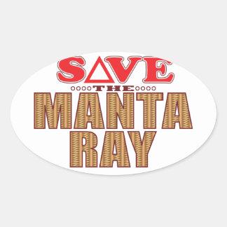 Manta Ray Save Oval Sticker