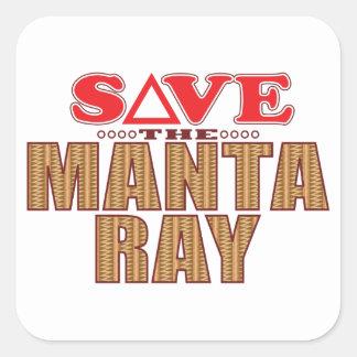Manta Ray Save Square Sticker