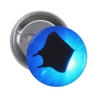 Manta Ray Silhouette 2 Inch Round Button