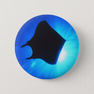 Manta Ray Silhouette Pinback Button