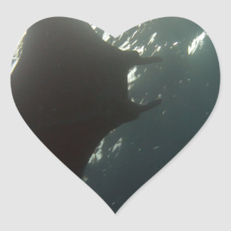 Manta ray swimming overhead heart sticker
