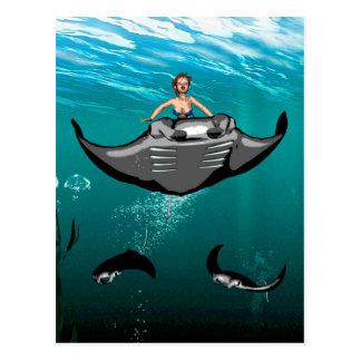 Manta Ray with mermaid Postcard