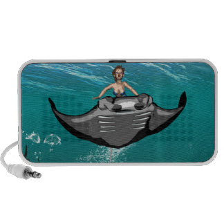 Manta Ray with mermaid Portable Speakers