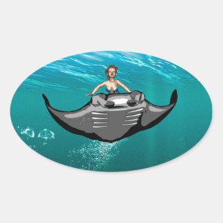Manta Ray with mermaid Oval Sticker