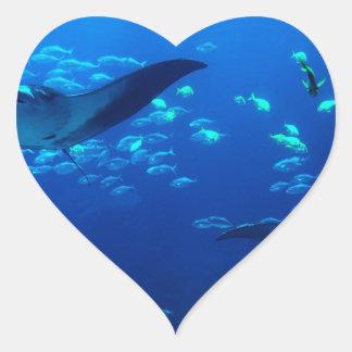 Manta Rays Heart Sticker