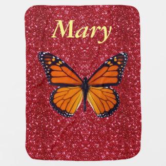 Manta roja del bebé del brillo de la mariposa manta de bebé