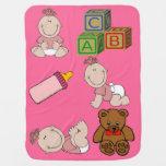 Manta rosada del bebé de la niña mantas de bebé